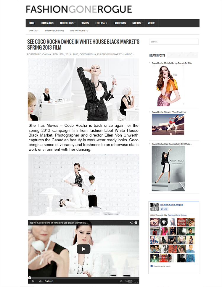 ceft and company new york agency whbm heart of workwear ellen von unwerth coco rocha press fashion gone rogue